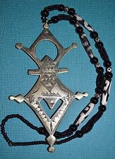 Tuareg Big Metal Cross Necklace Metal, Black Glass Mud Cloth Beads Niger Africa