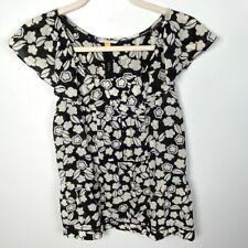 Anthropologie Leifsdottir Silk Floral Print Blouse Black Cream Women's Size 0