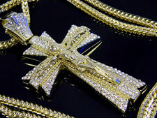 "Jesus Cross Pendant Hip Hop Iced Out Necklace Crystal 36"" Franco Chain Gold"