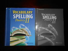 Abeka Vocabulary Spelling and Poetry II Set  Homeschooling 8th grade lot of 2