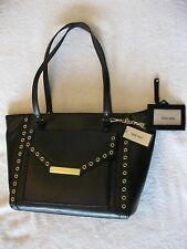 "NWT NINE WEST ""AVA"" BLACK LARGE TOTE PURSE HANDBAG W/GOLD GROMMETS MSP $79"