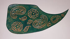 "Leather pick guard Acoustic Guitar Custom Hand Tooled Leather  ""Dew Rag"" Aqua"