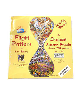 "Sunsout 1000 Pc Shaped Puzzle ""FLIGHT PATTERN"" Butterflies Birds Floral *Sealed"