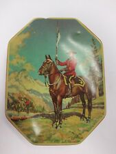 """Old Vintage Horner Candy Tin, """"Canadian Mountie"""",  5 1/2 x 7"""", red."""