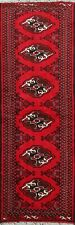 Geometric Bokhara Balouch Red 6ft Runner Rug Elephant Feet Hand-Knotted Wool 2x6