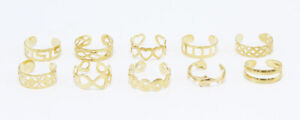 New Set of 10 Ornate Gold Tone Toe Rings in Assorted Patterns #R1175