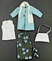 Barbie Vintage Clone Floral Skirt White Top Blue Coat w/White Accent Purse Shoes