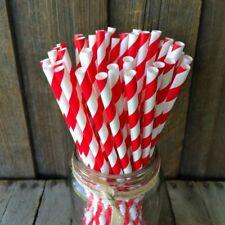 Retro Red & White Stripe Premium Biodegradable Paper Straws Pack of 50