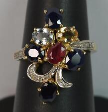 Fantastico 1,40ct Zaffiro Rubino Topazio Citrino & Diamante 9kt Oro