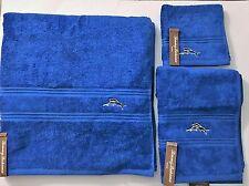 Tommy Bahama 3 Pc Set Solid Marlin Blue 100% Cotton Bath,Hand Towel+Wash Cloth