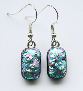 Genuine Hand Crafted Dichroic Glass Earrings - Turquoise Pink Texture