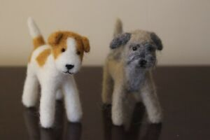 Border Terrier Jack Russell Terrier Needle Felted Animals Free UK P+P