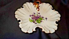 Napco China Hand Painted Violets Gold Trim Candy Dish