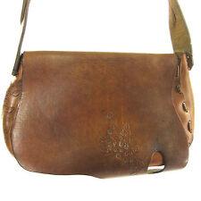 Vintage Purse Brown Leather Tooled Shoulder Saddle Bag Braid Strap Boho Hippie