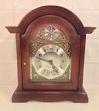Vintage Bracket Clock w/ Quartz Movement Westminster Chimes Runs Strikes