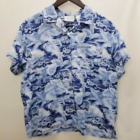 RARE Liz Claiborne Lizwear Women's Short Sleeve Button Up Hawaiian Shirt Sz L