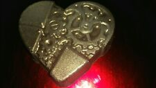Solid Dark Chocolate Steampunk Heart  Gold  Metallic Toned  Hand Made XL