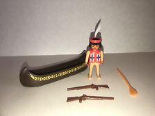 PLAYMOBIL 3397 TRACKERS CANOE Indian Figure Guns Boat Oar 70% COMPLETE 1991