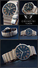 Cavadini Yukon Women's Watch 38mm Stainless Steel Pink Gold Plated,Black Roman