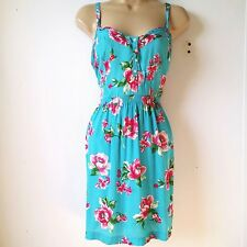 Abercrombie Fitch Gilly Hicks Medium blue pink green white floral fit & flare D3