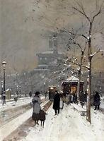Oil painting figures in the snow paris cityscape Paris Street Scene on canvas