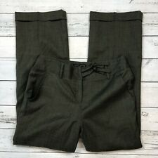Larry Levine Wool Dress Pants Size 12 Womens Green Lined Rolled Cuff Trouser