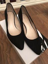 Ladies NINE WEST Black Suede Court Shoes Size 3.5 Uk 5.5 US