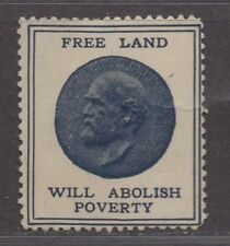 """**US Cinderella RARE 1800's """"Free Land Will Abolish Poverty"""" Poster Stamp, MH OG"""
