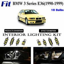 10pcs White LED Interior Light Kit For BMW 3 Series E36 (For 1 C-Pillar Light)