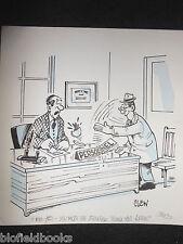 """Clifford Lewis """"Clew"""" Original Pluma y Tinta de dibujos animados-el personal de oficina Karate #506"""