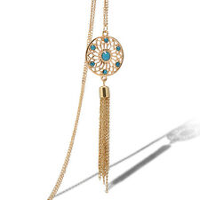 Women Jewelry Retro Turquoise Tassels Round Pendant Long Chain Necklace Fashion