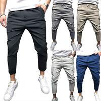 Men's Chino Pants Cotton Plain Skinny Straight Leg Work Formal Casual Trousers