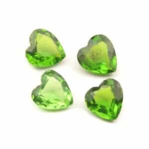 Lot (4) Czech vintage green heart glass rhinestones 12mm