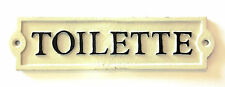 "Door/Wall Sign - ""Toilette"" - Off-White/Cream Cast Iron w/Black Letters"