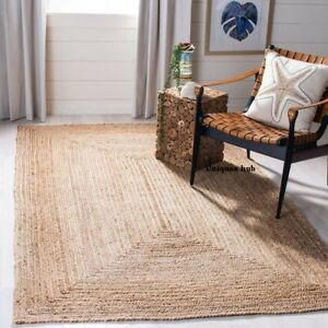 Jute Rug Braided style Reversible 6x9 Feet Rustic look Area Rug Runner Carpet