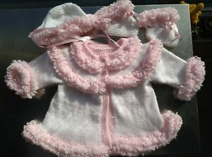 Handmade New  Pink & White Loopy Detail Baby Cardigan Hat & Booties 0-3 mths