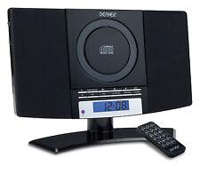 Denver MC5220 Black Micro wall mount stereo CD Player AUX-IN FM Clock Alarm