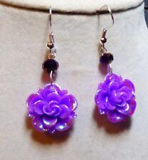 UNIQUE EARRINGS Purple Rose BLING Bead Handcrafted Nora Winn USA