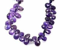 A Natural Purple Amethyst Quartz Briolette Pear Shape Gemstone Beads Strands