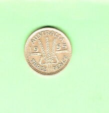 1955  AUSTRALIAN  SILVER THREEPENCE  COIN