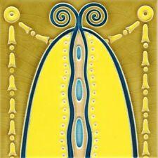 Art Nouveau Vintage Ceramic Tile Set of 2 German Trivet Majolica Reproduction