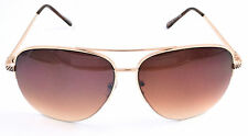 I-catchers Ladies or Mens Aviator Brown Sunglasses & Free Pouch, Italy Design