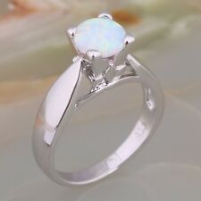 Ladies White Fire Opal 18ct White Gold GF Gift Engagement Gemstone Ring Size 7-O