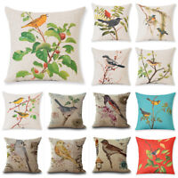 Bird Vintage Home Decor Cotton Linen Pillow Case Sofa Waist Throw Cushion Cover