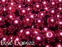 30pc Quality Glass Pearl Round Beads Lot - Burgundy Magenta Purple 10mm (CR1008)