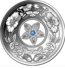 2012 Fiji Large Silver Proof  $10 Filigree Flower Ornaments w cubic zirconia