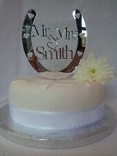 Wedding Cake Topper,Horse shoe,PERSONALISED,Mr & Mrs,Acrylic Mirror,Gift
