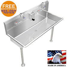 "HAND SINK, LAVATORY MULTIUSER, 2 USERS 48"" STAINLESS S."