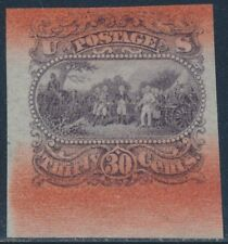 #121-E1s Plate Essay On Bond, Red Bands Ovpt Top & Bottom Dull Red Violet Br2077