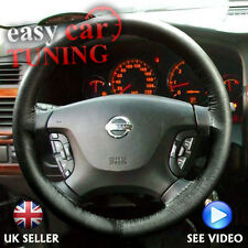 FOR NISSAN PATROL 1997-2013 BLACK REAL GENUINE LEATHER STEERING WHEEL COVER NEW